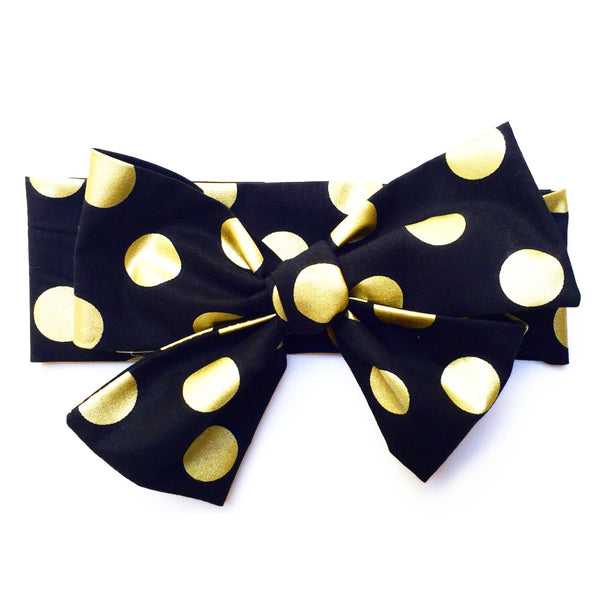 Black & Gold Lrg Polka Dot Head Wrap