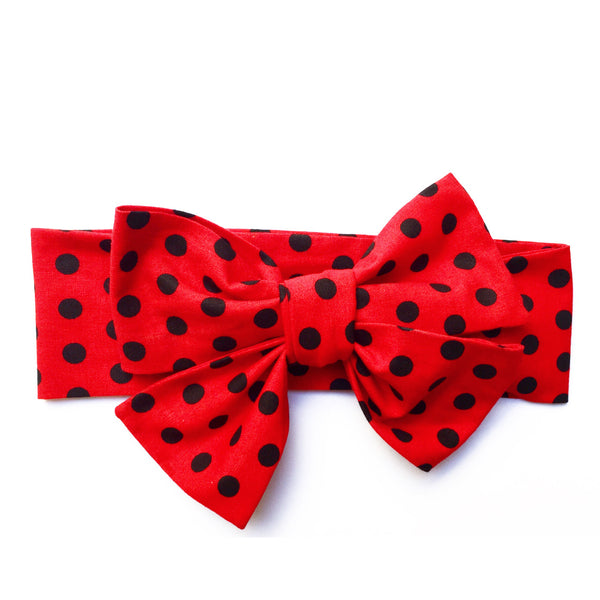 Black & Red Polka Dot Head Wrap