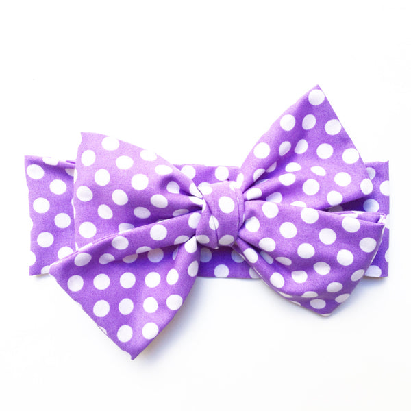 Light Purple Polka Dot Head Wrap