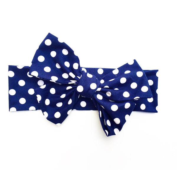 Navy Polka Dot Head Wrap