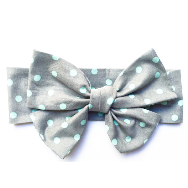 Grey & Teal Polka Dot Head Wrap