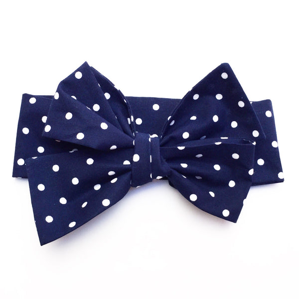 Navy Tiny Polka Dot Head Wrap