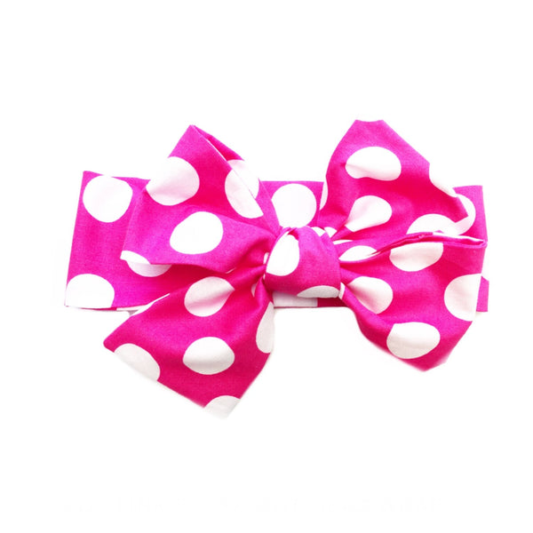 Hot Pink Polka Dot Head Wrap