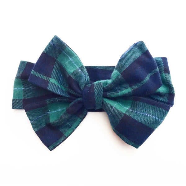 Navy & Green Plaid Head Wrap