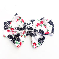 Black & White Bow Red Rose Head Wrap