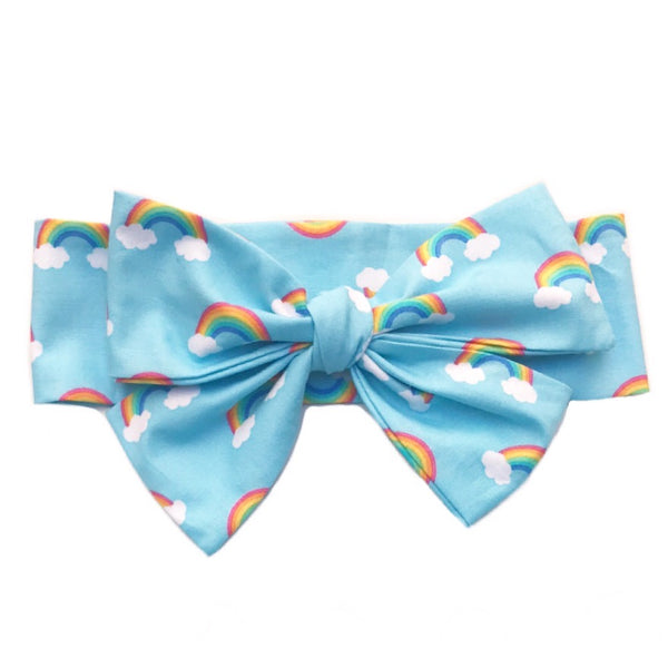 Baby Blue Rainbows Head Wrap