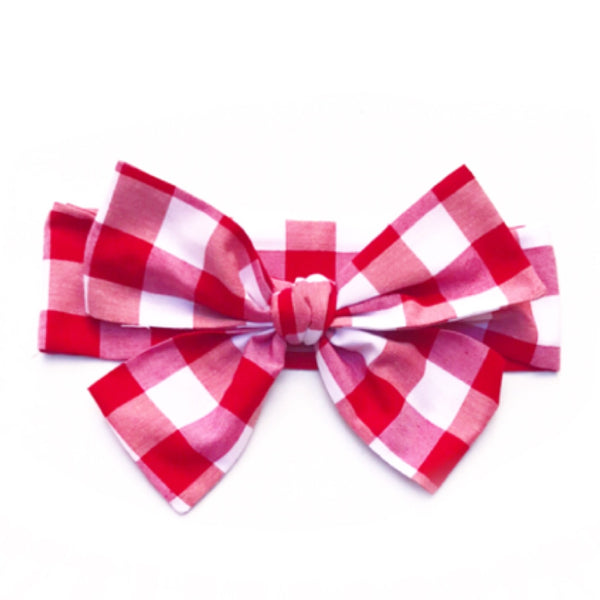 Lrg Red Gingham Head Wrap