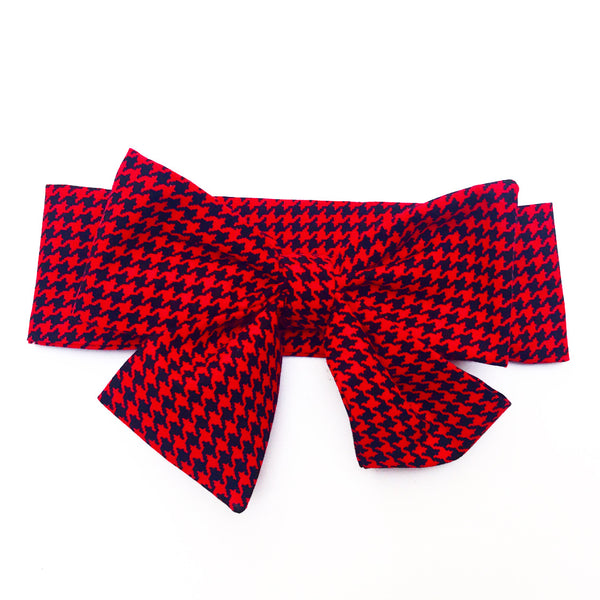 Tiny Black & Red Houndstooth Head Wrap