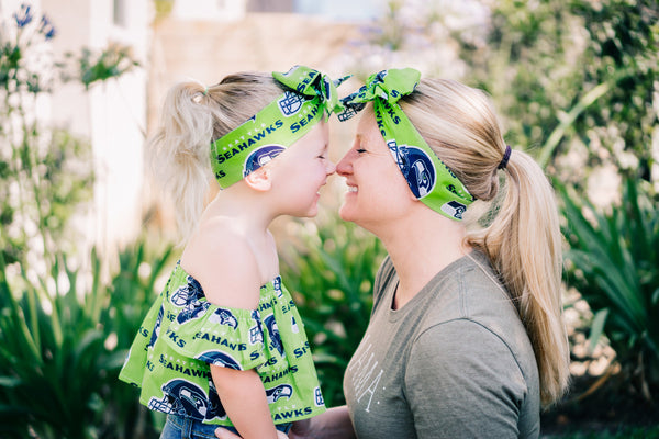 Lime Green Seattle Seahawks Mommy & Me Head Wrap SET
