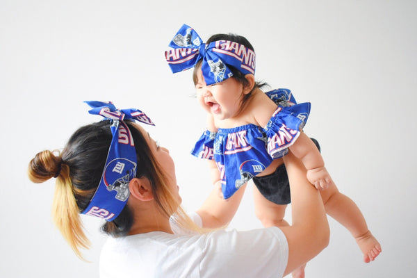 NY Giants Fan Mommy & Me Head Wrap SET