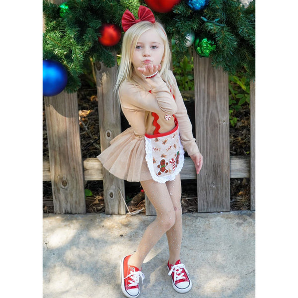 Red Peppermint Gingerbread Girl Romper