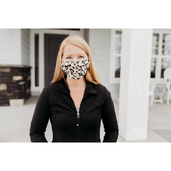 Blush Gold Cheetah Face Mask