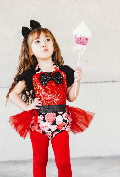 Red Sparkle Donuts VALENTINES Romper