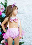 Eyelet Pink Polka Dot Gingerbread Girl Romper