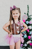 Brown Heart SPARKLE Gingerbread Girl Romper
