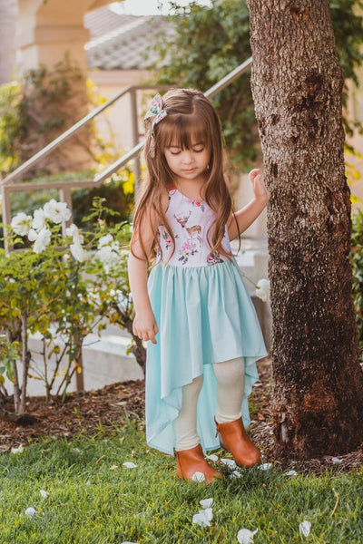 Mint Deer High-Low Dress