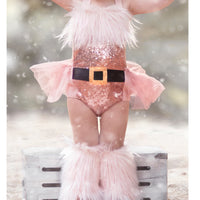 Extra Fluffy Sparkle BLUSH Santa Romper GOLD BUCKLE