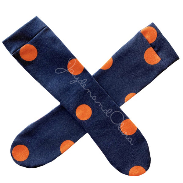 Black & Orange Lrg Dot Knee High Socks