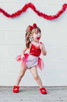 Sparkle Red WHITE Tiny Heart VALENTINES Romper