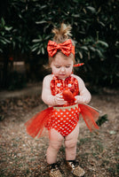 Sparkle FIRE Red Heart VALENTINES Romper