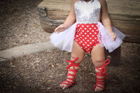 Sparkle SILVER Fire Red Heart VALENTINES Romper