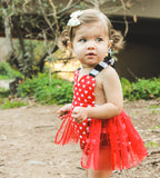 FIRE Red Heart Black Stripe VALENTINES Romper