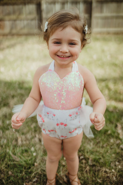 Sparkle Pink & White Bunny EASTER Romper