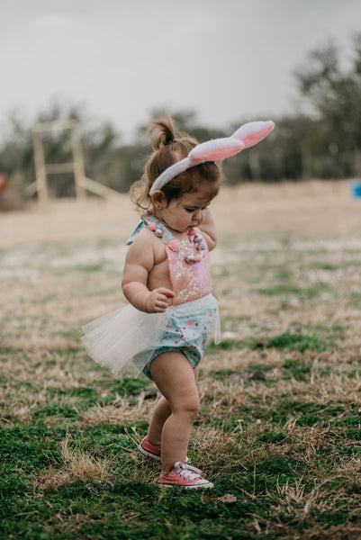 Sparkle Pink & Baby Blue Bunny EASTER Romper