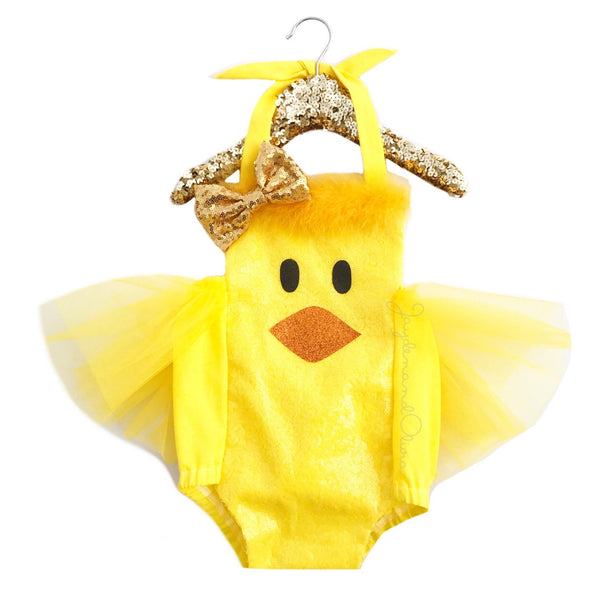 Sparkle Yellow Chick EASTER Romper