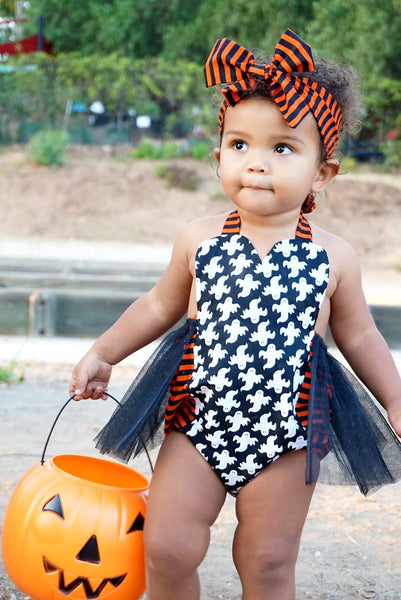 Black & Orange Ghost Romper