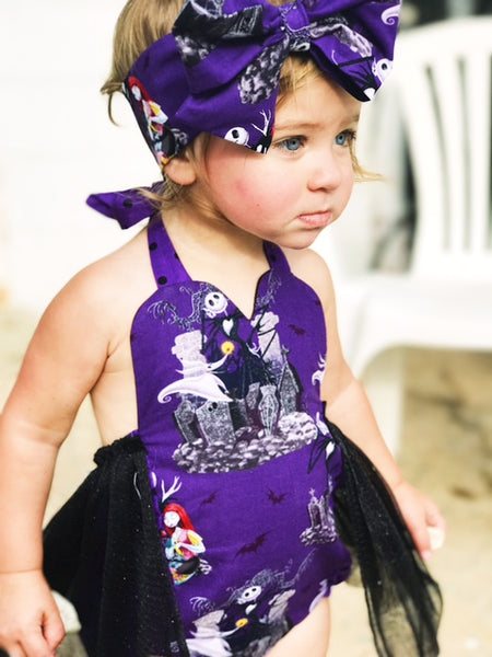 Purple Jack & Sally Tulle Romper