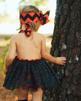 Black & Orange Polka Dot Romper