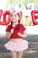 White & Red Heart VALENTINES Bloomer Skirt