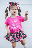 Pink Rose & Black Dot VALENTINES Bloomer Skirt