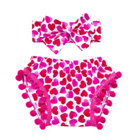 Pink & Red Heart Pom Pom Shorties
