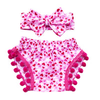Pink Glitter Hearts Pom Pom Shorties