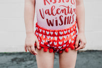 FIRE Red Hearts Pom Pom Shorties