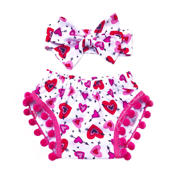 Pink & Red Arrow Hearts Pom Pom Shorties