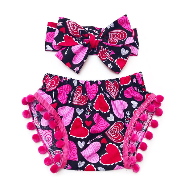 Pink & Red Scribble Heart Pom Pom Shorties