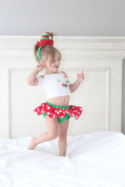 Lrg Red Polka Dot Christmas Bloomer Skirt