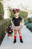 Red Plaid Christmas Trucks Bloomer Skirt
