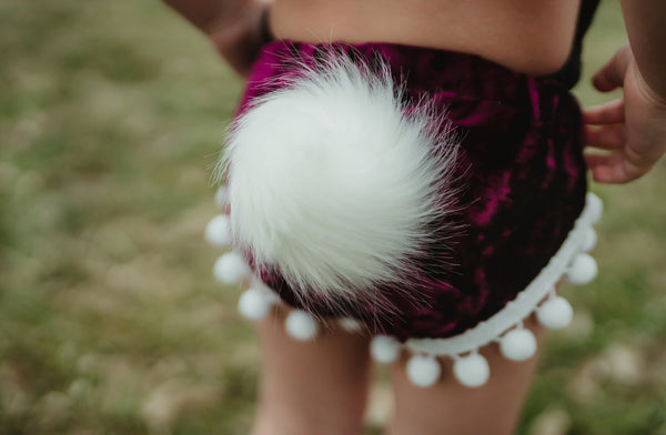 Bunny Tail CRANBERRY Crushed Velvet Shorties