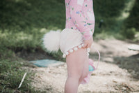 Bunny Tail CLASSIC WHITE Crushed Velvet Pom Pom Shorties
