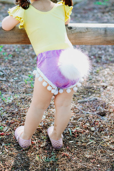 Bunny Tail LAVENDER Crushed Velvet Pom Pom Shorties