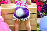 Bunny Tail PURPLE Crushed Velvet Pom Pom Shorties