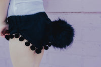 Black Bunny Tail BLACK Pom Pom Shorties