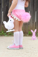 Bunny Tail Bubble Gum PINK Pom Pom Shorties