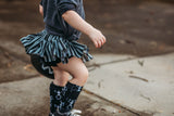 Black & Grey Stripe Bloomer Skirt