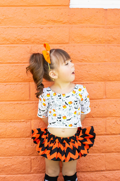 Black & Orange Chevron Bloomer Skirt