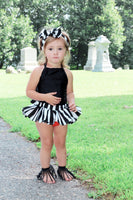Black Stripe Orange Bottom Bloomer Skirt
